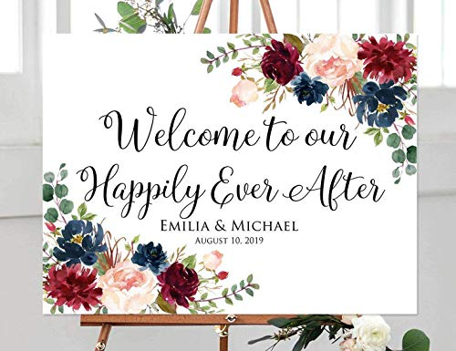FabricMCC Custom Welcome Wedding Sign, Personalized Welcome to Our Happily Ever After Sign, Floral Wedding Sign (20