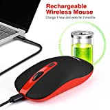 LeadsaiL Rechargeable Wireless Computer Mouse, 2.4G Portable Slim Cordless Mouse Less Noise for Laptop Optical Mouse with 5 Adjustable DPI Levels USB Mouse for Laptop, Deskbtop, MacBook