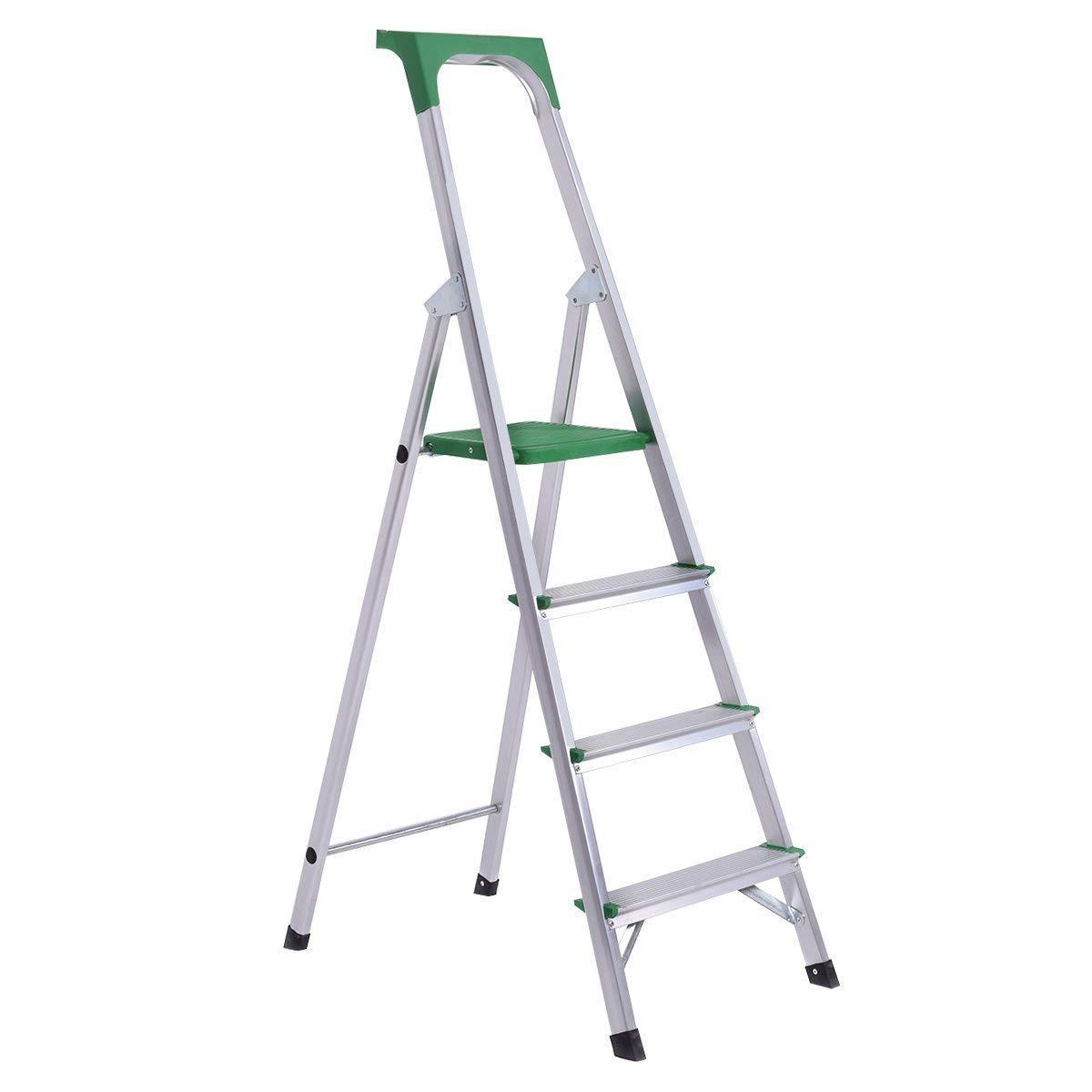 Giantex Folding 4 Step Ladder Aluminum Non-Slip Work Stool Platform 330Lbs Load Capacity, Green