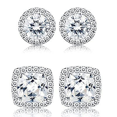 Discount Thunaraz 1-2 Pairs Halo Stud Earrings 18K White Gold Plated Round Square Brillant Cut Earrings with Gift Box hot sale