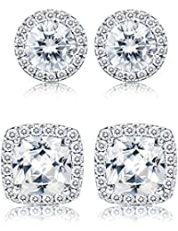 1-2 Pairs Halo Stud Earrings 18K White Gold Plated Round Square Brillant Cut Earrings with Gift Box