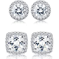 Thunaraz 1-2 Pairs Halo Stud Earrings 18K White Gold Plated Round Square Brillant Cut Earrings with Gift Box