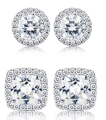Thunaraz 2 Pairs Halo Stud Earrings 18K White Gold Plated Round Square Brillant Cut Earrings with Gift Box