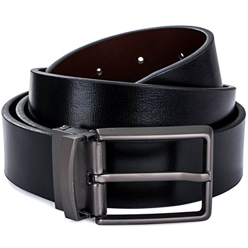 Belt Matte - Reversible Leather Belt For Men Brown/Black With Gift Box By Pointed Designs (Matte Buckle)