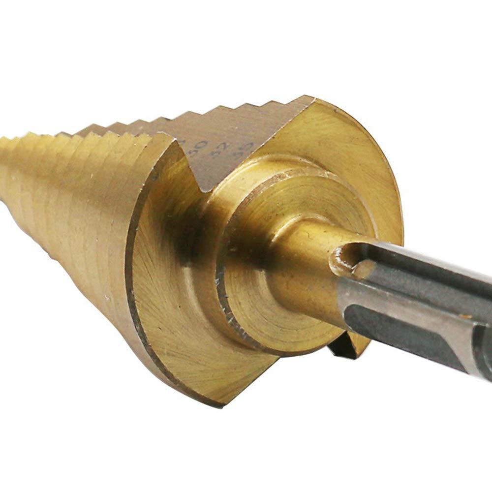 Mehrfunktions-Aufbohrer 6-35MM F/ür Kohlenstoffstahl d/ünne Eisenplatte usw. LYY HSS-Stufenbohrer mit gerader Rille mit Zwei Gruben und Zwei Griffen