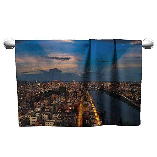 DUCKIL Cute Hand Towels Urban City at Night Bridge Buildings Coast Skyline Twilight Metropolis SunBlue Yellow Light Brown Popular Bath Sheets 20 x 20 inch