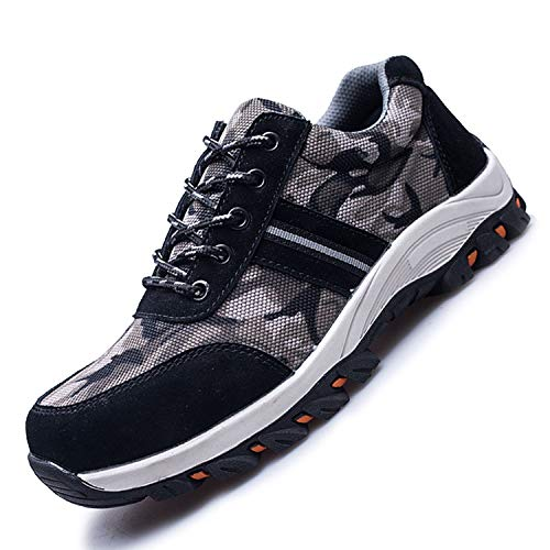 JACKSHIBO Steel Toe Work Shoes for Men Women Safety Shoes Breathable Industrial Construction Shoes Camouflage Black 6.5-7