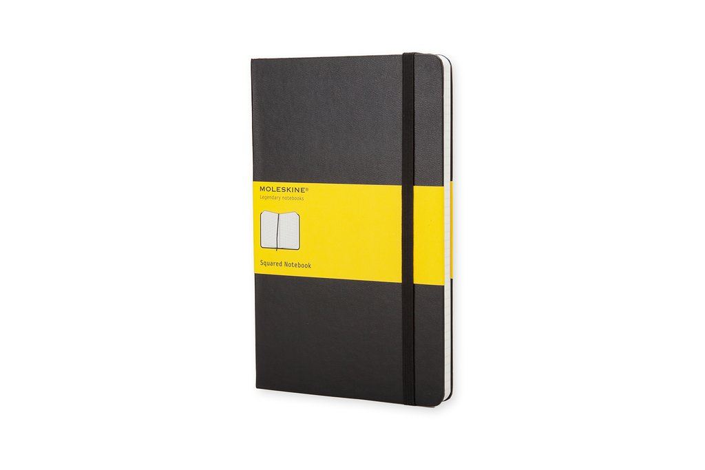 Moleskine Classic Notebook Large (5 x 8.25''), Squared Pages, Black, Hard Cover Notebook for Writing, Sketching, Journaling