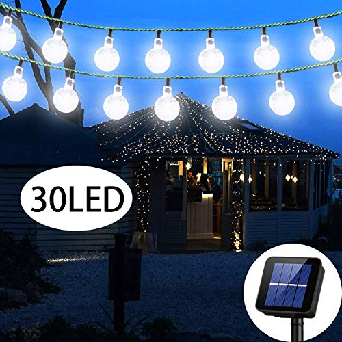 Irecey Solar String Light Outdoor 20ft 30LED Crystal Ball Waterproof Globe String Lights Solar Powered Fairy Lighting for Garden Home Landscape Holiday Decorations(White-01)