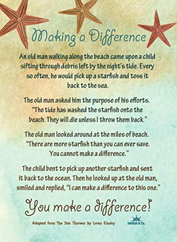 Starfish Poem Story 50 Laminated Cards for People Who Make a Difference Inspirational Appreciation Recognition Acknowledgement