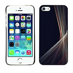 Híbridos estuche rígido plástico de protección con soporte para el Apple iPhone 5 / 5S - lines minimalist gray black sewing