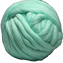 FloraKnit 8.8oz (0.55 lb) 100% Merino Wool Super Chunky Yarn Bulky Roving Yarn for Arm Knitting,Crocheting Felting,Making Rugs Blanket and Crafts Ice Green 25Yards
