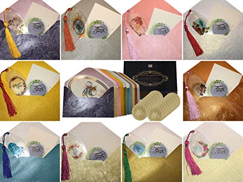60-PIECE Deluxe Thank You Cards Notes Bulk Set. 20-Pack Total. 10 Collectable Hand Made Bookmarks W/Notecards. 10 Oval Gold Foil Printed Cards. 20 Assorted Embossed Envelopes. 20 Gold Foil Stickers.