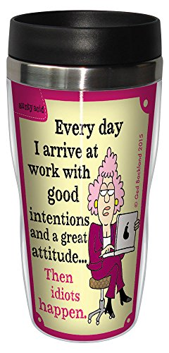 Funny Aunty Acid Travel Mug, Stainless Coffee Tumbler, 16-Ounce Then Idiots Happen SG78592, Hilarious Gifts for Office Coworkers, Tree-Free Greetings ()