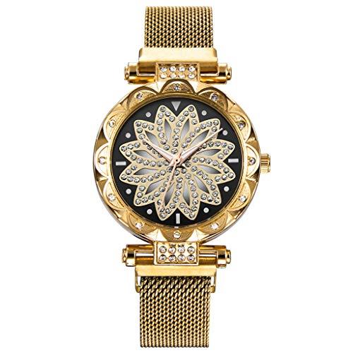 IslandseWomen Watches Ladies Magnetic Clock Diamond Female Quartz Wristwatches (Gold)