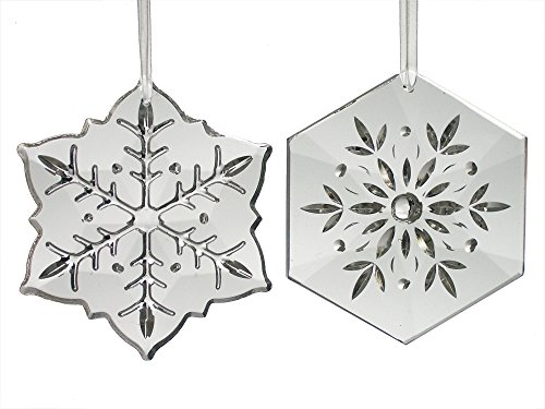 Snowflake Ornaments - Set of 2 Decorative Snow Flakes - Faceted Cut Snowflake Designs on Glass