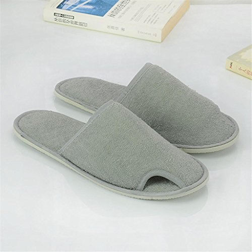 Hospitality Towels Guest - 10x Pair sexposed toe Thick Sole Disposable Slippers Hotel guest room with towel cloth slippers men and women home hospitality Slippers , grey