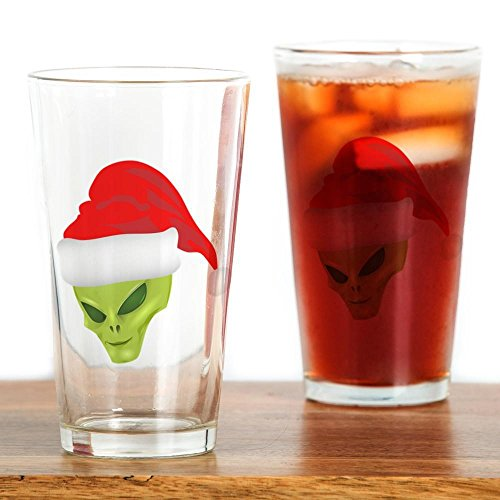 Pint Drinking Glass Green Alien Head with Christmas Santa Hat