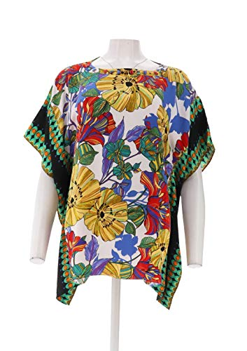 Susan Graver Artisan Embellished Printed Woven Scarf Top White XS New A277825