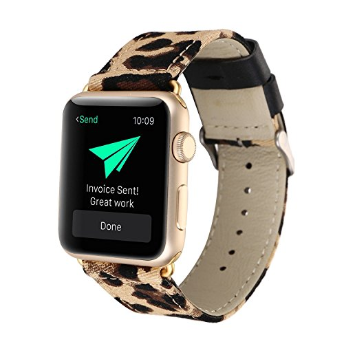 Fashion Leopard Print Leather and Denim Fabric Watch Band Strap Compatible with Apple Watch Series 3, Series 2, Series 1, Sport, Edition (Brown Leopard 42mm)