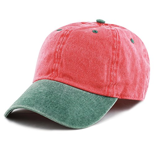 - The Hat Depot Cotton Pigment Dyed Two Tone Low Profile Six Panel Plain Cap (Red Green)