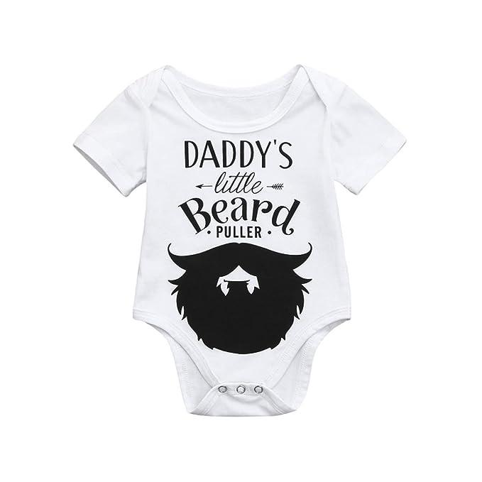 QinMM Body de Barba de Las Muchachas de Los Muchachos, Camisa Mono de Los Peleles de La Manga Corta de La Impresión de La Letra: Amazon.es: Ropa y ...