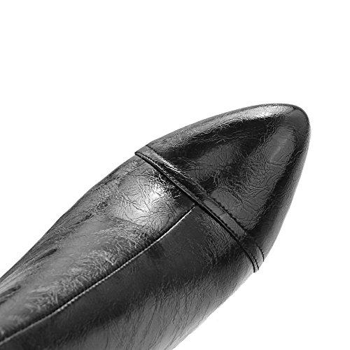 AllhqFashion Mujeres Tacón de aguja Sólido Cremalleras Caña Baja Botas con Metal Negro