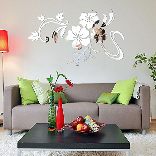 Home Décor Usstore 1PC Flowers Mirror Floral Art Removable Decoration For Bedroom living bathroom House Shop Office Windows Decor Ornament (Silver) ()
