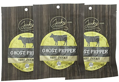Jerky.com's Ghost Pepper Beef Jerky - 3 PACK - All-Natural, No Added Preservatives, No Added Nitrites or Nitrates - 9 total - Edible Beef Jerky