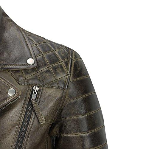 Giacca Slavato In Con Da Antico Stile Morbida Brown Motociclista Vintage Casual Pelle Vera Uomo Diagonali Marrone Cerniere rrOFqBRv