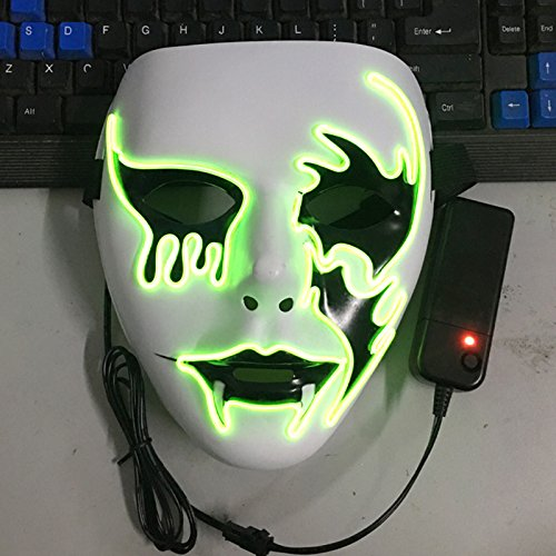 Lanlan Luminous EL Wire Mask Halloween Light Up Cosplay Mask Creative Death Grimace Masks for Festival Costume Party Show Death Grimace (El Wire Costume Kid)