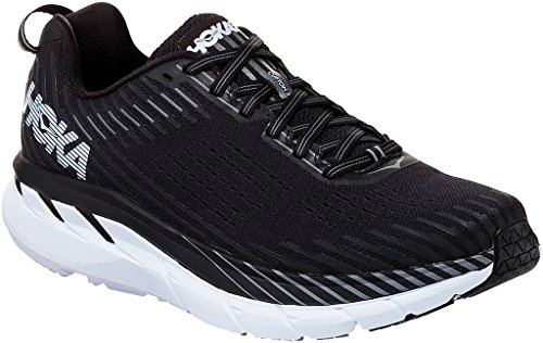 HOKA ONE ONE Men's Clifton 5 Running Shoe Black/White Size 13 M US (Clifton All White)