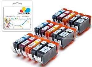 Premier Ink - Cartuchos de tinta compatibles con los modelos CLI526, PGI525 de Canon para impresoras Canon Pixma IP4850, IP4950, MG5250, MG5350, MG5150, MG8250, MG6150, MG6220, MG6250, MG8150, MG8220, MX715, MX885, Ix6550, PGI 525BK, CLI 526Y, CLI 526M, CLI 526C y CLI 526BK, 15 unidades, incluyen chip, alta capacidad