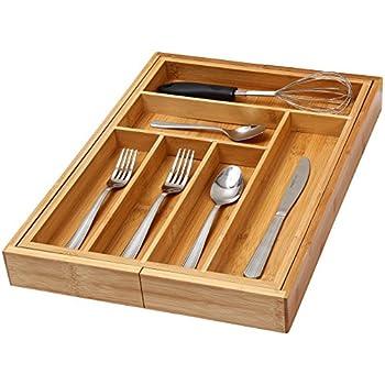 YBM Home U0026 Kitchen 6 Compartment Kitchen Utensil, Flatware, Cutlery Drawer  Organizer Tray