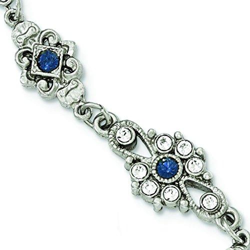 Silver-tone Downton Abbey Blue Crystal
