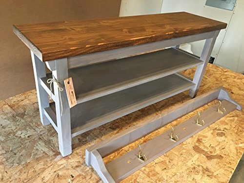 Hallway Mud Room Foyer Bench 38 Inch with Two Shoe Shelves and Matching 36 Inch Coat Rack Shelf ()
