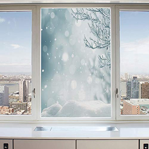 3D Decorative Privacy Window Films,Christmas Themed Image Snow and Frosted Tree Snowflakes Winter Season Illustration Decorative,No-Glue Self Static Cling Glass Film for Home Bedroom Bathroom Kitchen