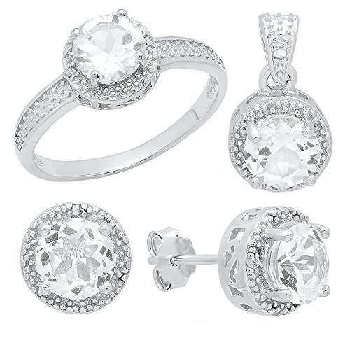 Dazzlingrock Collection Round White Topaz & Diamond Accent Halo Engagement Ring, Earring & Pendant Set, Sterling Silver