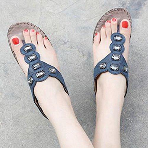 avec Bleu Flat Marin Forme Sandales Confort JRenok Thong Summer Strass Bohemian Femmes Flop Plate Beach Flip ay4Rq