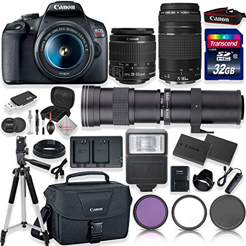 Canon EOS Rebel T7 DSLR Camera with 18-55mm EF-S f/3.5-5.6 is II Lens & EF 75-300mm f/4-5.6 III Lens + 420-800mm Zoom Lens + 32GB High Speed Memory + Canon Bag + Full Accessory Bundle