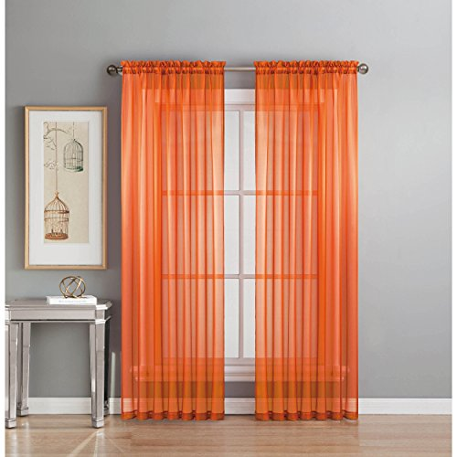 Orange Light Filtering Blinds (Window Elements Sheer Elegance Rod Pocket 108 x 84  in. Curtain Panel Pair, Orange)