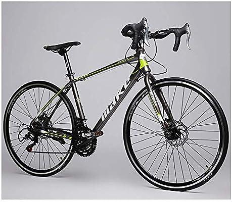 Xiaoyue Adulto Bicicleta de Carretera, Niño Niña 14 Velocidad de Aluminio Ligero de Bicicleta de Carreras, Doble Freno de Disco de Camino de la Bicicleta, 700C, Rojo lalay (Color : Green): Amazon.es: