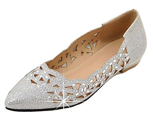 Aisun Women's Cutout Rhinestone Pointy Toe Low Cut Dress Driving Wear to Work Office Slip On Flats Shoes (Silver, 9.5 B(M) US)