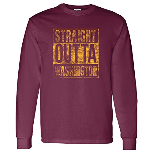 Straight Outta Washington - Hometown Pride, Football Long Sleeve T-Shirt - 2X-Large - Maroon (Football Redskins T-shirt)