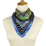 Pantonight Silk Square Scarf Luxurious Paisley 100% Mulberry Silk Printed Satin Hanky (silk square scarf blue)