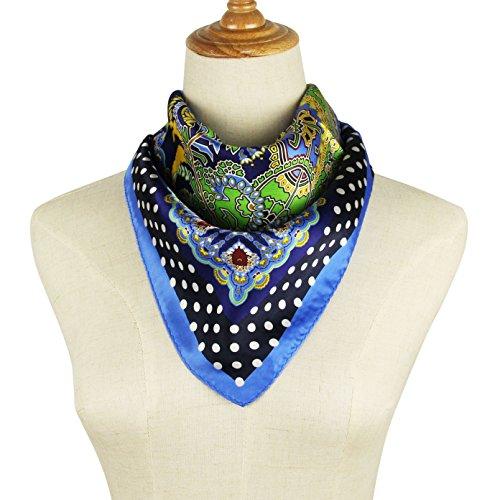 Printed Silk Square Scarf (Pantonight Silk Square Scarf Luxurious Paisley 100% Mulberry Silk Printed Satin Hanky (silk square scarf blue))