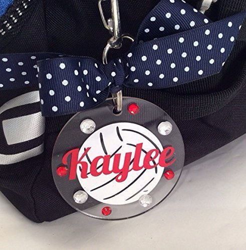 Volleyball White Ball Bag Tag Personalized with Your Name and Your Colors