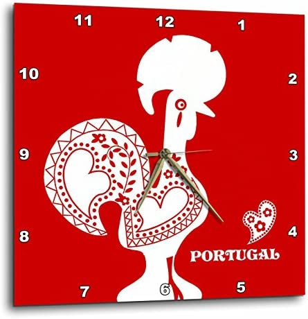 3dRose DPP_160670_1 Red and White Portuguese Rooster Wall Clock, 10 by 10-Inch
