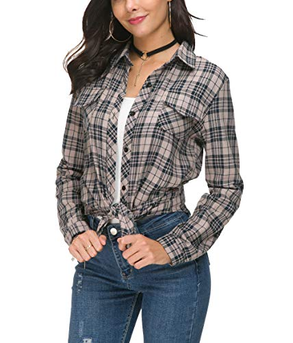 NuoReel Womens Casual Plaid Soft Button Up Tops 3/4 Long Sleeve Cuffed Blouse Shirts (Large Beige)