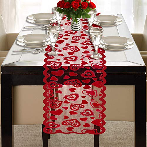 Mosoan Valentines Day Table Runner - Red, 13 x 72Inch - Lace Table Runner for Wedding Party, Valentines Decorations - Home Heart Table Runner -